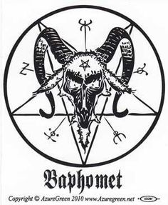 This bumper sticker displays the head of Baphomet as seen often within an inverted pentagram and surrounded by magical markings and symbols.