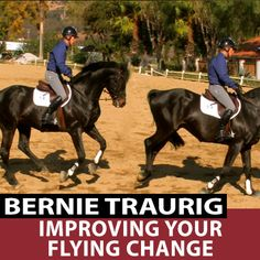 """A lot of issues can crop up that result in less than perfect flying changes. Perhaps your horse anticipates or is anxious, has late changes, or uncontrollable changes like swapping in lines. In, """"Improving Your Flying Changes"""" Bernie shares some tips to address all these issues and more. http://www.equestriancoach.com/content/improving-your-flying-changes"""