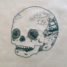 Done methinks - scrimshaw skull #embroidery | by Sewphie T