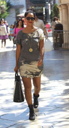 Hot! or Hmm... Tracee Ellis Ross's The Grove Isabel Marant Tuna Dress and Black Combat Boots