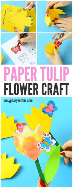 Paper Tulip Flower Craft with Printable Template