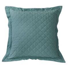 Delectably Yours Decor HiEnd Accents Turquoise Linen Quilted Pillow Sham