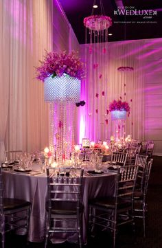 Beautiful centerpieces and ceiling decor