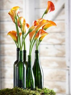 Stunning for spring, a few beautiful calla lillies in an interesting grouping of old colored bottles exudes a fun, relaxed vibe.