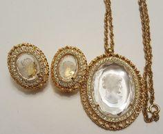 Vintage Demi parure Cameo necklace & earrings set Rhinestone #ebay #vintage #jewelry #cameo