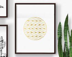 Printable Circle Chevron Modern Art, Gold, Instant Digital Download Print