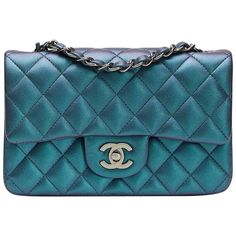 d2ec6d4c2b11 View this item and discover similar structured shoulder bags for sale at -  CHANEL Turquoise Metallic Quilted Lambskin Rectangular Mini Flap Bag This  CHANEL ...