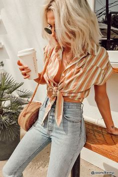 Striped Pocket Shirt - Women - 2000265841 - Forever 21 Canada English 50 Fall Outfit Ideas To Get Inspire Cute Outfits Lovely Fashion Street Style Outfits, Mode Outfits, Fashion Outfits, Womens Fashion, Fashion Tips, Ladies Fashion, Fashion Trends, Fashion 2018, Fashion Ideas