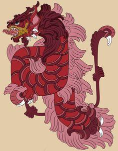 Red Gyrados drawn in Mayan art style