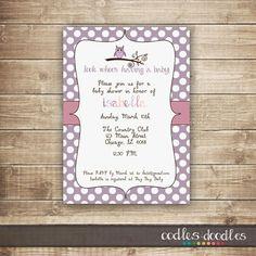 Owl Baby Shower Invitation / Pink & Purple Polka Dots Girl's Baby Shower Invitation / Baby Girl Shower - Printable on Etsy, $15.00