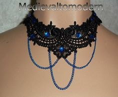NEW~~Hand Made Royal Blue Chain Venis Black Medieval Lace Choker NEW  Jeez -pricey - $45!