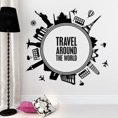 Quotes Wall Decals Travel Around The World Decal Advenrure Vinyl Sticker Bedroom Interior Design Living Room Home Decor Mural 688