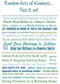 Random acts of kindness - ideas for our Thursday RAK this summer