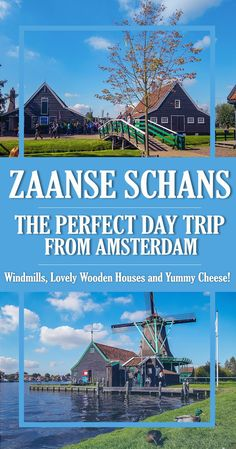 Explore this ultimate guide to Zaanse Schans - what to expect, things to see (original Dutch windmills and lovely wooden houses), museums and yummy cheese! Find out where exactly you can take a photo in an original Dutch costume from 1850 and a great tip Day Trips From Amsterdam, Amsterdam City, Amsterdam Travel, Windmills In Amsterdam, Anne Frank, Amsterdam Red Light District, Europe Continent, Voyage Europe, How To Take Photos