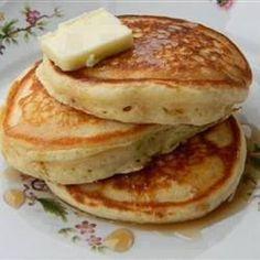 makes 12 pancakes     1 1/2 cups all-purpose flour   3 1/2 teaspoons baking powder   1 teaspoon salt   1 tablespoon white sugar...