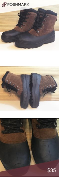 """Brown Leather Men's Winter Boots 6"""" Shaft New Leather and man made upper  Skid Resistant  Temperature Rated  Winter boots Durable upper with suede inserts Lace-up design Padded lining 6 inches shaft Padded footbed Suede heel loop Ozark Trail Shoes Boots"""