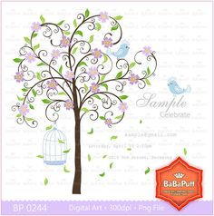 Instant Downloads Lavender Blossom Tree & Cute Birds by BaBaPuff, $5.00