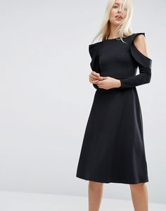 ASOS Midi Skater Dress with Cold Shoulder and Frill Sleeve Detail $64.49
