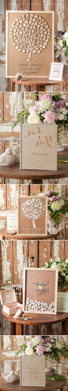Wooden Wedding Guest Books - Alternative or Traditional ? Choose Your perfect design ! Wooden Wedding Guest Book, Guest Book Table, Guest Books, Outdoor Wedding Decorations, Wedding Table Centerpieces, Tree Wedding, Diy Wedding, Wedding Ideas, Wedding Gate