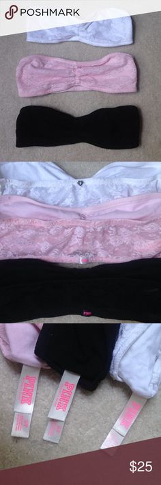 Bundle of Victoria's Secret pink bralettes These three bralettes are in brand new condition. They are super cute but too small for me! All three are size small. Let me know if you want to get just one color. PINK Victoria's Secret Intimates & Sleepwear Bandeaus