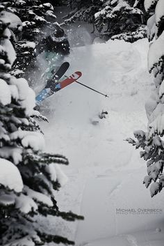 """At Whistler Blackcomb. """"Pow shred with Felix Burke. Michael Overbeck photo""""."""