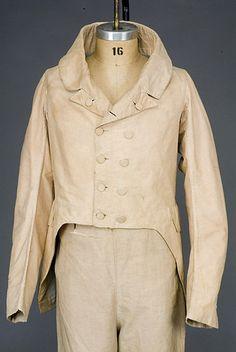 1835-45 Man's Striped Cotton Tailcoat, American. whitakerauction.smugmug.com