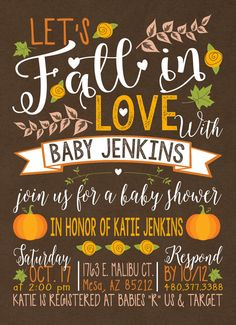 baby shower fall baby shower invitation little by