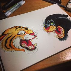 Image result for old school panther tattoo flash