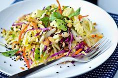crunchy cabbage salad w/ peanut dressing