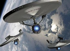 Task Force to be reckoned with:  Constitution Class refits Enterprise (NCC-1701), Lexington (NCC-1709) & Yorktown (NCC-1717). Conjecture: Roddenberry suggested that the second Constitution class Enterprise (NCC-1701-A) was originally the USS Yorktown, and was re-christened as Enterprise along with the new registry number.