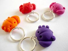 Crab knitting stitch markers snagless by AbsoKnittingLutely