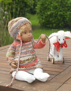 Knitted Sasha  Baby Dolls Clothes -  3 Piece Dress Set