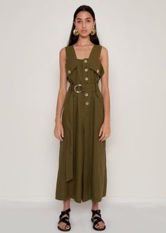 """Slit Side, Wide Leg Jumpsuit w/Detachable Belt. Marble Button Front Closure. 4 Pockets. Relaxed Fit 100% Linen 20.5"""" Inseam Length, 15"""" Rise, 36"""" Bust Dry Clean Imported"""