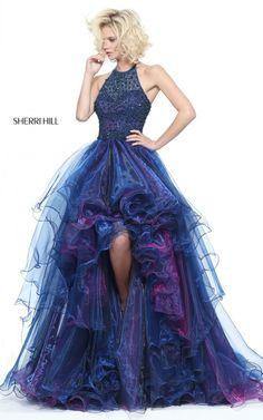 Sherri Hill 51140 Navy A Line Halter Prom Dress