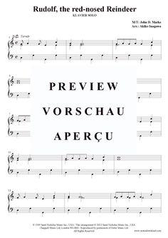 Rudolph, the red-nosed Reindeer (Klavier solo leicht) Weihnachts-Pop / Christmas-Song >>> KLICK auf die Noten um Reinzuhören <<<