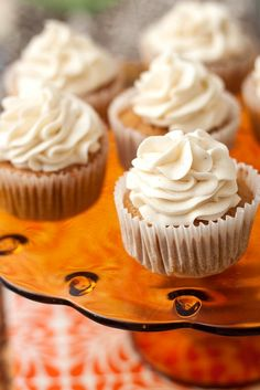 Pumpkin Spice Cupcakes with Maple Cinnamon Cream Cheese Frosting from Tide and Thyme using Taste of Home Recipe Cupcake Recipes, Baking Recipes, Cupcake Cakes, Dessert Recipes, Cupcake Flavors, Cup Cakes, Pumpkin Spice Cupcakes, Pumpkin Dessert, Maple Cupcakes
