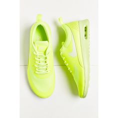 Nike Air Max Thea Sneaker ($90) ❤ liked on Polyvore featuring shoes, sneakers, lime, light weight shoes, lime shoes, nike trainers, lime green sneakers and nike sneakers