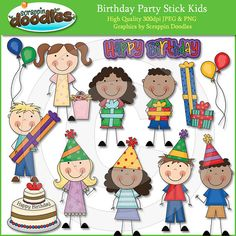 Birthday Party Stick Kids Clip Art by ScrappinDoodles on Etsy, $3.50