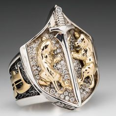Proclamation Jewelry Custom Made Mens Diamond Lion Shield Ring .925 Sterling & 18K Gold