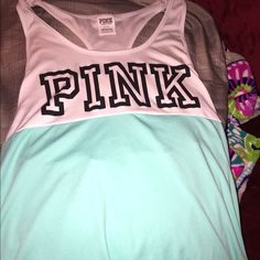 PINK tank L NWOT beautiful blue tank. Love the color. Size large. Fits to size. TRADES. anything sequins or new. PINK Victoria's Secret Tops Tank Tops