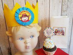Circus birthday,Circus Party, Monkey crown,Animal cupcake picks by lilbagcompany…