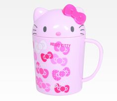 Hello Kitty Plastic Cup with Die-Cut Lid: Pink