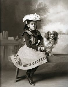 Vintage Portrait Little Girl With King Charles Cavalier Spaniel Dog MUST SEE  | eBay