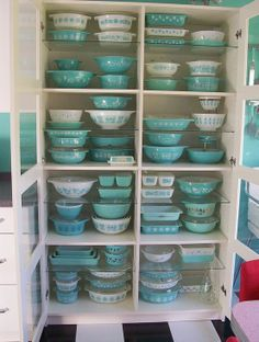 "Ultimate Pyrex collection ♥ That cabinet looks like the IKEA ""Bergsbo"" -- it's easy to assemble; holds lots of weight on the solid shelves & is inexpensive for a china cabinet -- 249.00 --"