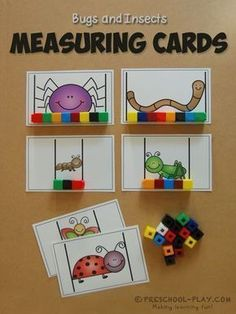 Bugs/Insects Math and Literacy Activities Measuring Cards -These make for a fantastic non-standard measurement activity for preschoolers.Measuring Cards -These make for a fantastic non-standard measurement activity for preschoolers. Measurement Kindergarten, Measurement Activities, Math Measurement, Math Activities For Preschoolers, Kindergarten Math Centers, Literacy And Numeracy, Preschool Classroom, Preschool Learning, Math Centers