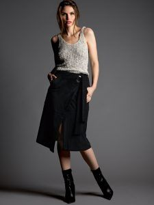 Faux Suede Wrap Skirt | Press Fashions Canada