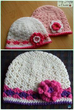 DIY Crochet Spring Lacy Hat Free Pattern Instruction-Crochet Beanie Hat Free Patterns
