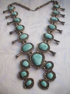 Huge Vintage Navajo CARICO LAKE TURQUOISE Squash Blossom Necklace, Sterling Silver 412g