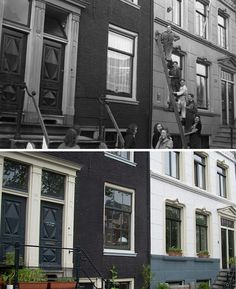 One of the wartime photos I found compared to the location today.Reguliersgracht in Amsterdam, these people worked in a factory, the  office part was perhaps on one of these buildings.