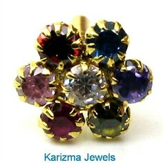 Indian Style CZ Studded Body Piercing Nose Stud Pin Solid Real 14k Yellow Gold
